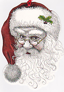 Santa with red cap card